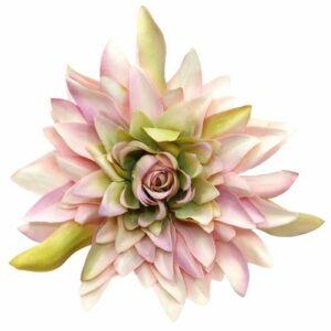 Extra selyem kaktusz dália fej vintage cirmos rózsaszín 14 cm 1 db