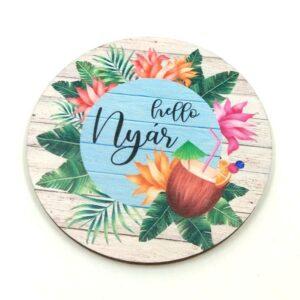 Hello nyár trópusi koktélos festett kör fatábla 7 cm