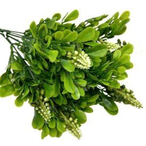 Műanyag zöld díszítőelem fürtös bogyókkal 7 ágas