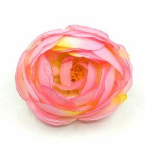 Selyem boglárka fej nagy élénk rózsaszín-sárga cirmos 6 cm 1 db