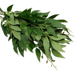 Selyem leveles díszítő csokor sötétzöld 5 ágas