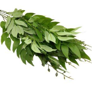Selyem leveles díszítő csokor zöld 5 ágas