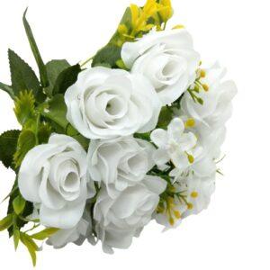 Selyem rózsa csokor apró virágokkal fehér 5 szálas