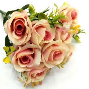 Selyem rózsa csokor apró virágokkal krém-pasztell mályva 5 szálas
