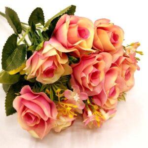 Selyem rózsa csokor apró virágokkal rózsaszín-krém 5 szálas