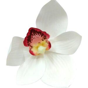 Élethű latex orchidea fej fehér pink közepű 9 cm 1 db