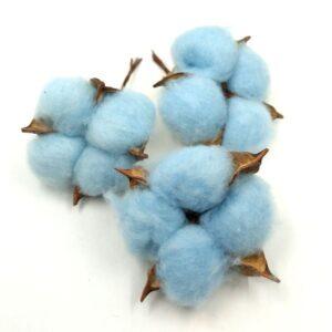 Gyapotnövény drótszáron kék 3 db
