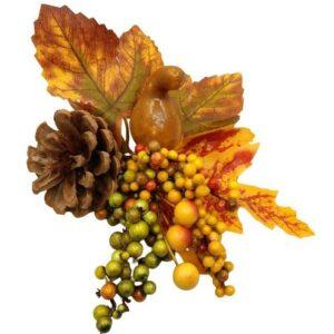 Őszi vegyes dekoráció lopótökkel, bogyókkal, tobozzal sárgás levéllel