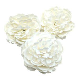 Selyem fodros virágfej fehér 8 cm 3 db