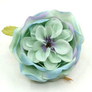Selyem peony virágfej türkiz-kék-lila cirmos 9 cm 1 db