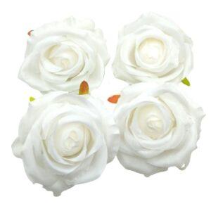 Selyem rózsa fej csomag fehér 4 db