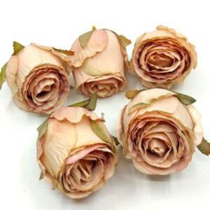 Selyem rózsabimbó vintage mályva 5 cm 5 db
