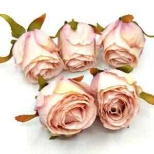 Selyem rózsabimbó vintage rózsaszín 5 cm 5 db
