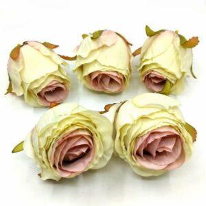 Selyem rózsabimbó vintage zöldes-mályva 5 cm 5 db