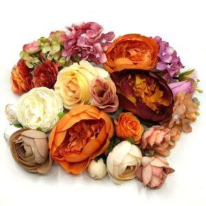 Selyem virág fejek vegyes csomagban 80 gr – ÉRTÉKCSÖKKENT, HELYENKÉNT KORMOS LEHET, DE OLYAN RÉSZEN, AMI A FELHASZNÁLÁSÁT NEM BEFOLYÁSOLJA
