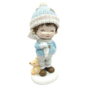 Csillámos kerámia kisfiú figura szarvassal kék ruhában 11 cm 1 db