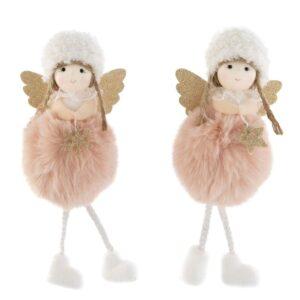 Lógólábú angyal ultrafinom szőrmés pocakkal rózsaszín 18 cm 1 db