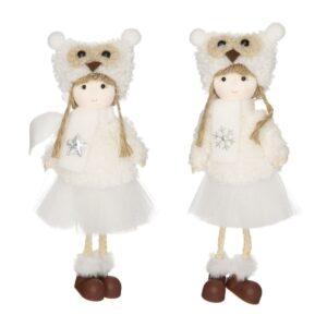 Lógólábú kislány figura baglyos sapkában fehér 19 cm többféle 1 db