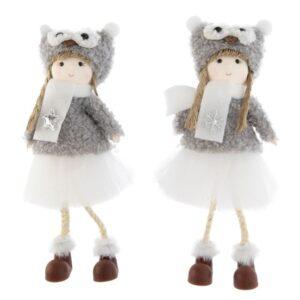 Lógólábú kislány figura baglyos sapkában szürke 19 cm többféle 1 db