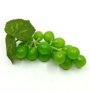 Műanyag szőlőfürt levéllel zöld 10,5 cm