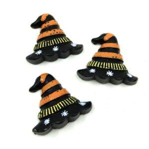 Öntapadós Halloween boszi kalap kerámia figurák 3,5 x 4 cm 3 db