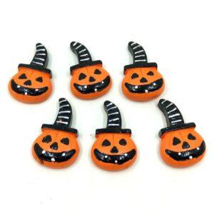 Öntapadós Halloween tök kerámia figurák kalapban 3,5 x 2,5 cm 6 db