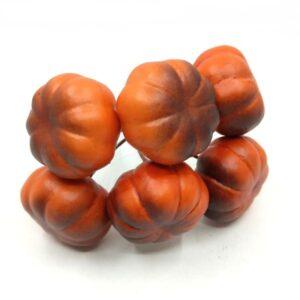 Polifoam dísztök drótszáron matt barnás narancs 3,5 x 2 cm 6 db