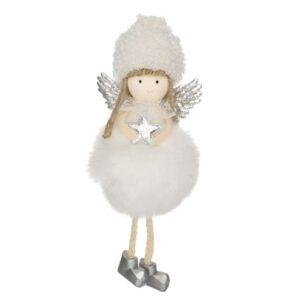 Kicsi lógólábú angyal ultrafinom szőrme pocakkal fehér 15 cm 1 db