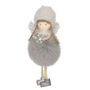Kicsi lógólábú angyal figura ultrafinom szőrme pocakkal szürke 15 cm 1 db