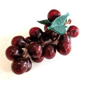 Műanyag kicsi szőlőfürt levéllel lila 7,5 cm