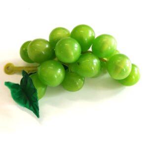 Műanyag kicsi szőlőfürt levéllel zöld 7,5 cm