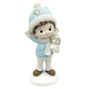 Csillámos kerámia kisfiú figura hóemberrel kék ruhában 11 cm 1 db