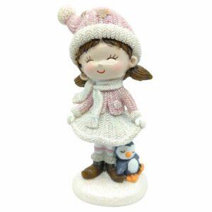 Csillámos kerámia kislány figura pingvinnel rózsaszín ruhában 11 cm 1 db