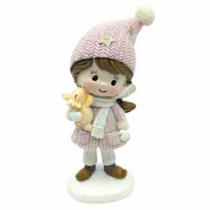 Csillámos kerámia kislány figura szarvassal rózsaszín ruhában 11 cm 1 db