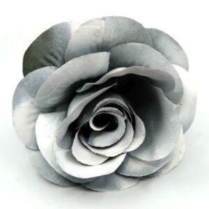 Nagyméretű hamvas selyem rózsa fej sötétzöld 10 cm 1 db