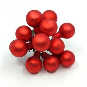 Díszítőelem KICSI piros matt üveg 12 db