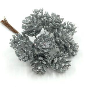 Exkluzív csillámos kerekded toboz ezüst 2 cm 12 db-os