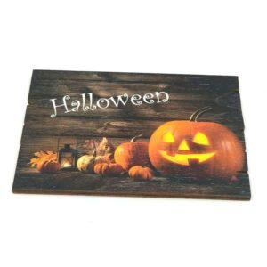 Halloween tökös festett fatábla 9 x 6,5 cm 1 db