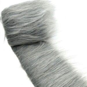 """Hosszúszőrű rókaszőr műszőrme szürke 8 cm x 1,75 m """"ezüst róka"""""""