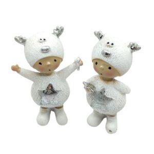 Kerámia gyermek figura szarvasos sapkában fehér-ezüst 8 cm 1 db