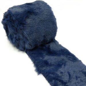 Műszőrme tekercs ultrafinom nyusziszőr sötétkék 160 x 8 cm